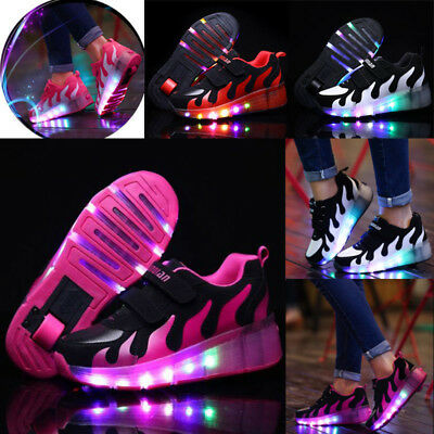 LED Heelys Wheels Boys Girls Shoes Skates Kids Light Up Roller Skate Trainers AU