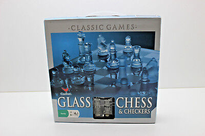 Classic Glass Chess Set Checkers Game Strategy Board Frosted Elegant Pieces
