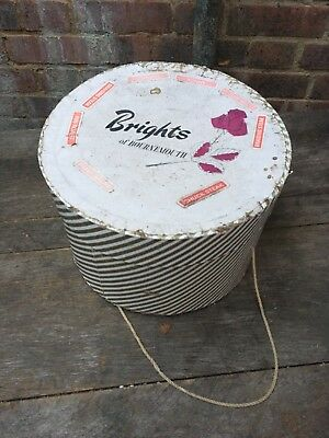 Vintage Brights Of Bournemouth Striped Cardboard Hat Box Case Millinery Retro