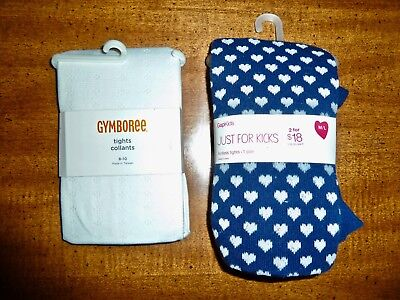 2 Nwt Gymboree & Gap Tights - White Lacy & Navy Footless Hearts - Girls 7-10