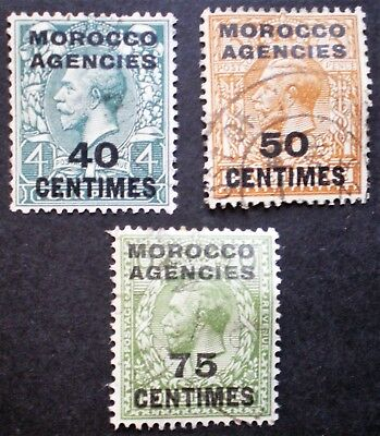 GB British Territories Morocco agencies three used stamps - French currency