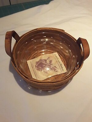 """Longaberger Button Basket And Protector 1995 7"""" Round"""
