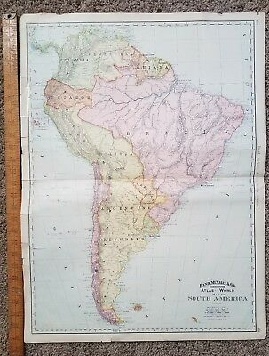 """Map Antique 1892 South America Rand McNally Map 27"""" x 20"""""""
