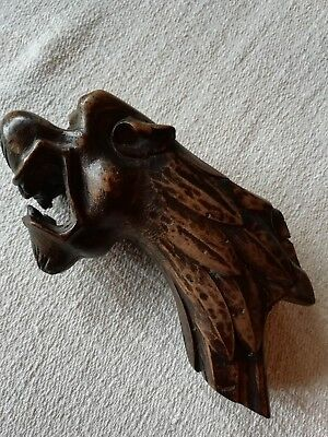 Antique 19th carved wood lion leopard beast chair arm end terminal salvage piece