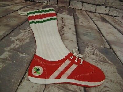 """Tennis Shoe Christmas Stocking Novelty with lace tie 16"""" maine no. 96"""
