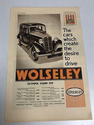 Very Rare 1934 WOLSELEY 4 Page Colour Motor Car Magazine Advert Brochure