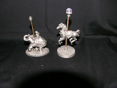 Set Of 2 Pewter Carousel Figurines, Horse And Elephant