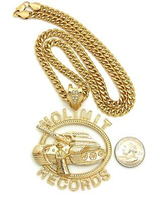 "Hip Hop No Limit Records Pendant With 6mm 24"" Cuban Chain 14k Gold Plated"