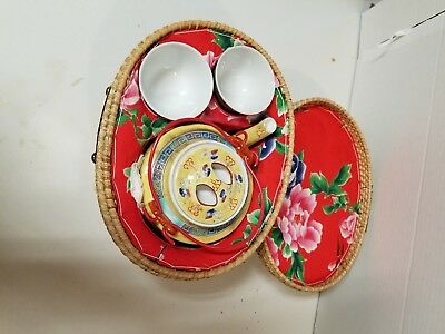 Vintage Japanese Basket With Porcelain Tea  Pot And Cups Dragon