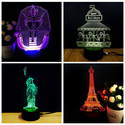 2BF9 3D 7 Colors LED Lamp Holder Light Base Night Light Home Gift Romantic