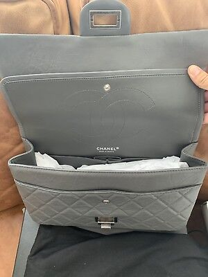 246939159a74 Chanel 227 REISSUE Grey Double Flap Leather Classic Shoulder Bag 2.55 NEW  w TAG