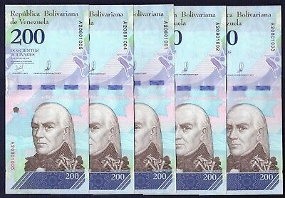 Venezuela 200 Bolivares Soberanos 2018 - LOT of 5 - P NEW - UNC