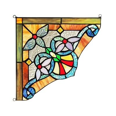 "Tiffany Style Stained Glass Victorian Corner Window Panels 10"" Handcrafted PAIR"