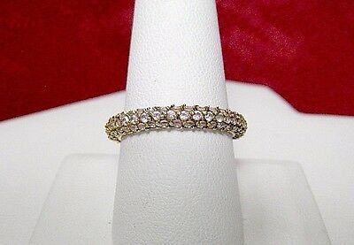 925 Sterling Silver Gold Tone Fashion Pave Pink Stone Set Band Ring Size 9.25