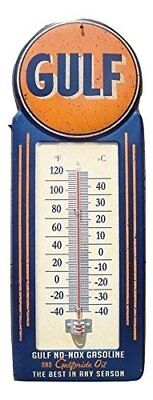 LARGE 15 GULF NO-NOX Gasoline and Oil Vintage Style Thermometer Sign Gas Serv...