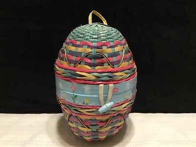 """Pastel Multi Color Wicker Easter Egg Shaped Basket 11""""tall   (Q74)"""