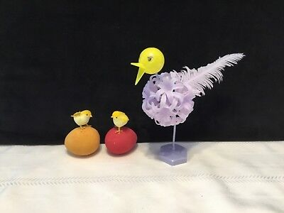Lot of 3 Vintage Easter Spring Holiday Decorations chick eggs bird  (L6)