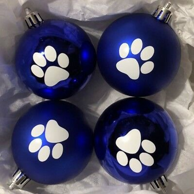 Pet Pawprint Ornaments Dog Cat! Set/4 Shatterproof Paw Print Christmas Blue
