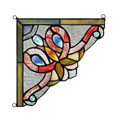 "Victorian Tiffany Style Stained Glass Corner Window Panel 8"" Handcrafted  PAIR"