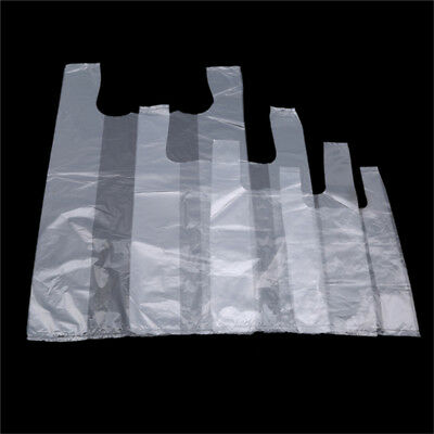 100Pcs Clear Transparent Plastic Bags Carrier Bags for Food Shopping Bags N7