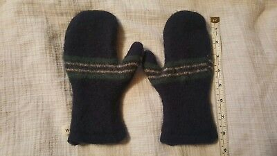 Boy's hand made Wool winter mittens, blue, lightly used, stripe accent