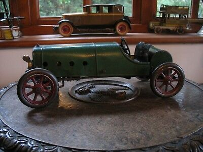 Structo Speedster #8 Green Dragon 1918 Stutz Racing Car Wind Up Antique Tin Toy