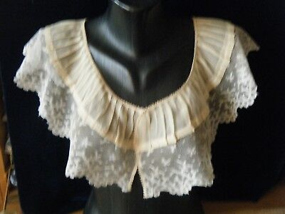 Antique19c Bertha shoulders Collar combo HM design Valenciennes lace & silk