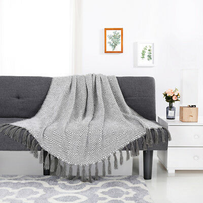 Soft Geometric Pattern Knitted Fringe Throw Blanket Bed Sofa Resisting Fading