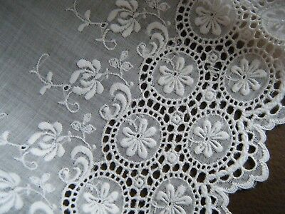 Old Vtg Embroidery white voile cotton lace trim busy deco design eyelets flower