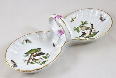 Herend Porcelain Rothschild  Bird Ro Double Shell Handled Serving Dish 7530 1St