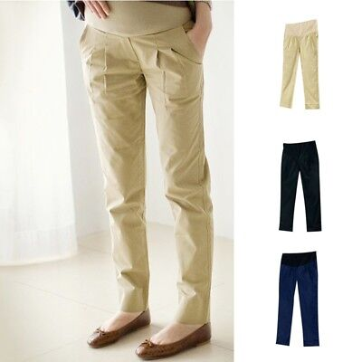 Maternity Pregnancy Loose Pants Comfortable Casual Postnatal Trousers Pure Color