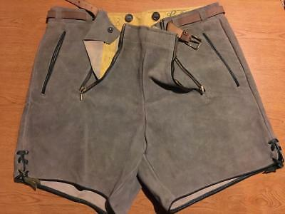 Authentic Vintage German Leather Bavarian Lederhosen Shorts Oktoberfest