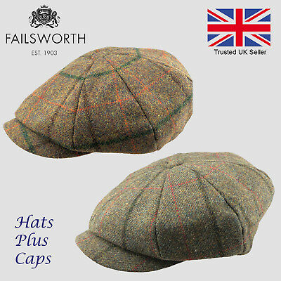 Failsworth Alfie Peaky Blinders Newsboy Cap English Tweed 100% Wool Country Hat