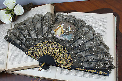 Antique French ball fan silk victorian scene painting sequins