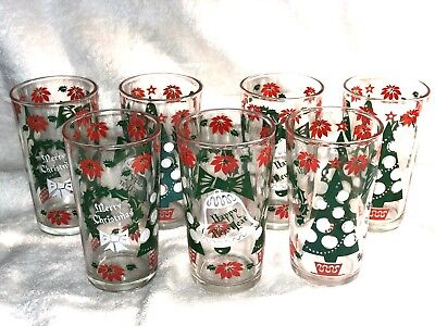 Seven (7)  Vintage Hazel Atlas Christmas & New Years Glasses Tumblers