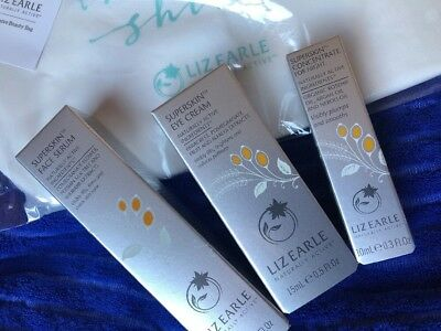 Liz Earle set of 4 items - Superskin -  FACE SERUM EYE CREAM -CONCENTRATE 4night