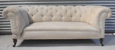 LARGE VICTORIAN EDWARDIAN ANTIQUE DROPARM CHESTERFIELD SOFA SETTEE c1890