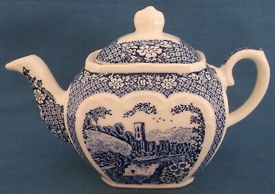 Vintage Sadler Cube Shape Small Teapot Afternoon Tea Blue White Made In England