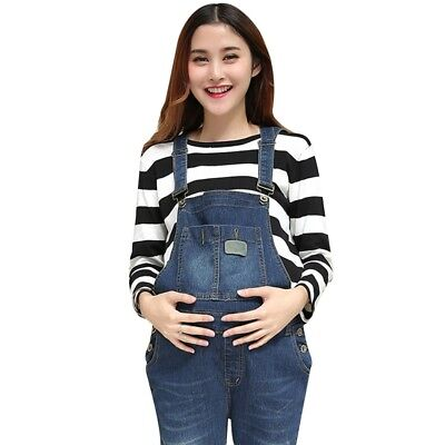 Maternity Pregnancy Fashion Denim Jumpsuits Comfortable Loose Casual Trousers