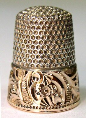 Rare Antique Ketcham & McDougall Gold Band Sterling Silver Thimble  Solar System