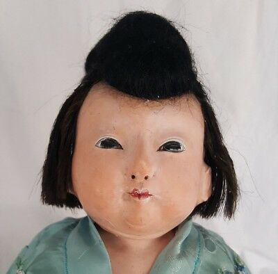 Antique late19th C. Japanese ICHIMATSU Papier- Mache Doll , Gofun, Glass eyes