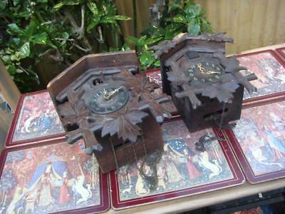 2 small Vintage  Cuckoo  Clock For Restoration or Spare / Repair