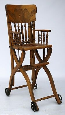 Antique Wicker Seat Steel Wheels Collapsible Highchair And Stroller