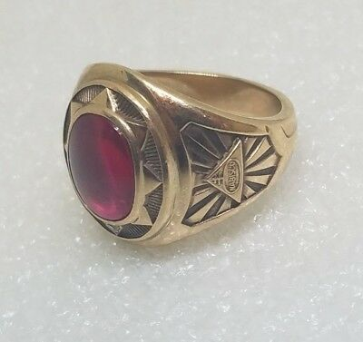 Vintage Nabisco Employee Ring 10K Gold Large Ruby Size 9