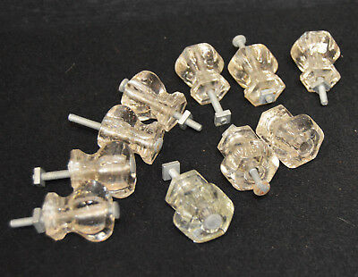 "Set of 10 Mid Century Glass Drawer Knobs Pulls / Cabinet  Door Handles 1.5"" x 1"""