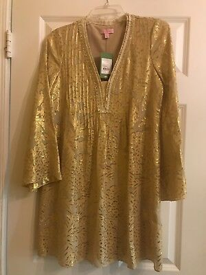 5aa6b8b71f8 NWT Lilly Pulitzer XS Colby Silk Tunic Dress - Gold, New with Tag, Extra