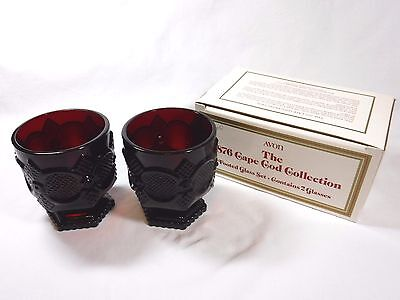 MINT Avon 1876 Cape Cod Ruby Red Glass FOOTED GLASS w/ Original Box, Set of 2