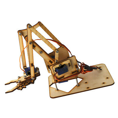 4 DOF Wooden Robotic Robot Mechanical Arm Clamp Kit with SG-90 Servo Motor