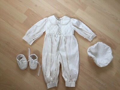 3-6 Month Winter Christening Outfit Boys Romper Hat Shoes