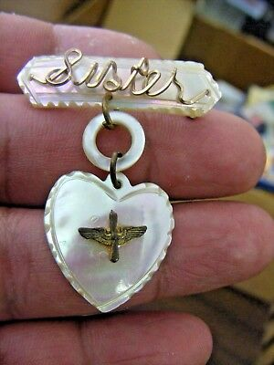 ww2 army air corps mop sweetheart sister  pin